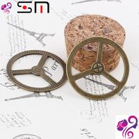 34mm Zakka Antique bronze diy alloy jewelry accessories wholesale, vintage Gear charms metal pendants, 2015 bulk bracelet charms