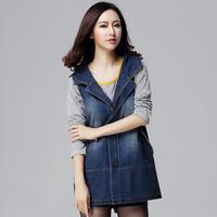 Fashion Desigual Denim trench coat women Denim Jean Trench Oversized Hoodie Outerwear Hooded Lady Jeans Coat Plus Size