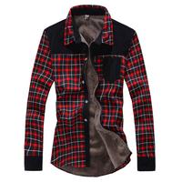 Dress Shirts grid Long Sleeve 2015 Male Casual Shirt winter men's casual cotton high quality warmness add wool thick slim shirts