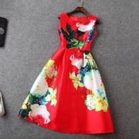2015 Summer Designer Brand New Dress Women's Elegant High Quality Sleeveless Red Colorful Flower Printed Knee Length Dress