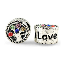 Crystal bead Cheap 1Pc Silver Bead Fit pandora European Colorful Crystal Family Tree Love Bead Fit Bracelets & Necklace H1023