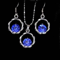 blue wholesale elegant fashion personality spherical crystal rhinestone women earrings necklace set r22