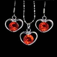 pretty wedding bridmaid heart elegant fashion personality spherical crystal rhinestone women earrings necklace set r11
