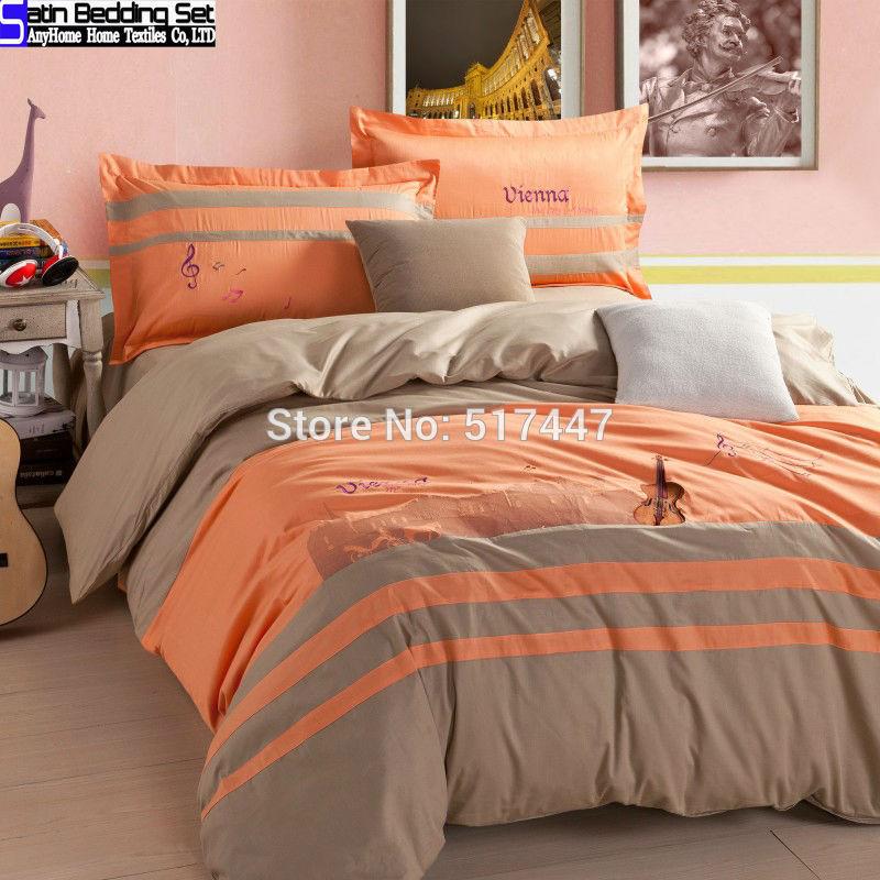 100% algodão bordar nota guitarra padrão laranja capa de edredon colcha de cama cinza lençol para o rei queen size jogo do fundamento 4 pcs roupa de cama(China (Mainland))