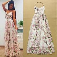 2015 summer women fashion brand designer one piece dress maxi long dress open back runway dresses spaghetti strap chiffon dress