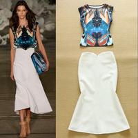 2015 summer new arrival women brand designer blue sleeveless top white mermaid long skirts runway women clothing women's set