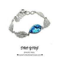 2015 Rock Long Korea Style Tin Alloy  Rhinestone Joias Charm Vintage Water Drop Leaf Crystal Silver  Beacelets For Women