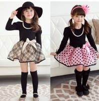 Hot girls in spring and autumn new fashion classic British plaid long-sleeved dress princess dress Polka Dot Dress