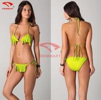 Fashion Designer Removable padding Swimwears Halters Tassel Crochet Bikinis Wholesale Women Summer Bathsuit 4 colors