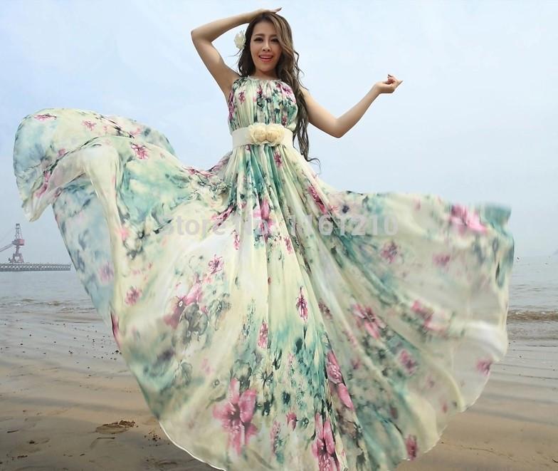 Chiffon maxi dress beach