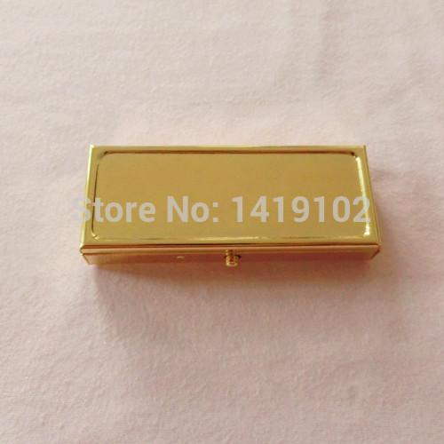 40PCS/Lot Golden Colour 2 Compartments Pill Box DIY Mini Metal Medicine Case Holder High-grade Gift PE Rectangle 7 Day Pill box(China (Mainland))