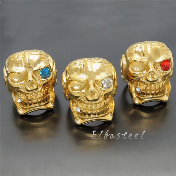 Men's Boy's Huge Heavy Gold Skull Cigar CZ Red Blue white 316L Stainless Steel Biker Ring birthday gift(China (Mainland))