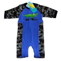 Free shipping kids boys camouflage pattern one piece swimming wear with Mr Croc printing,children UPF 50+ beach rash guards