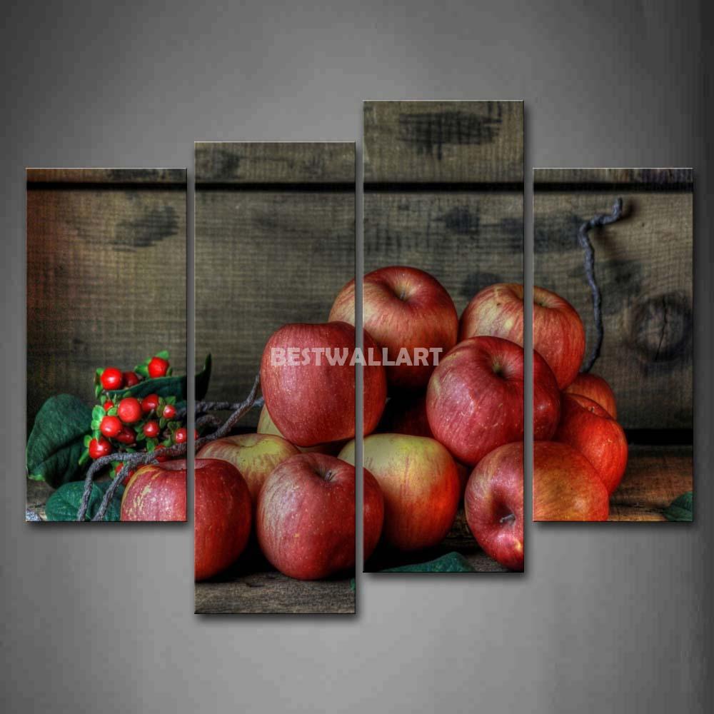 Red Apple multidão com folha verde 4 peça pintura em Canvas Wall Art imagem imprimir comida 3 5 The Picture Home Decor impressões petróleo(China (Mainland))