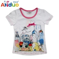 Hot Sell Ajiduo New Arrival Girls Summer T Shirt Cartoon Building Printed Children Brand Tops Girls Casual Kid Clothes Wholesale