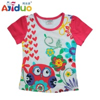 Hot Sell Ajiduo New Arrival Girls Summer T Shirt Floral Owl Printed Children Brand Tops Girls Casual Kids Clothes Wholesale