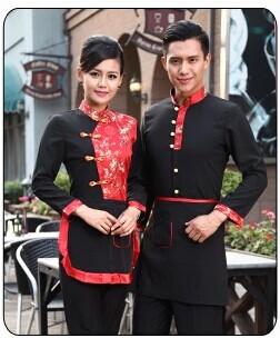 Senior hotel staff uniforms hotpot restaurant cafe restaurant waiter hotel catering industry long sleeve assembly apron(China (Mainland))