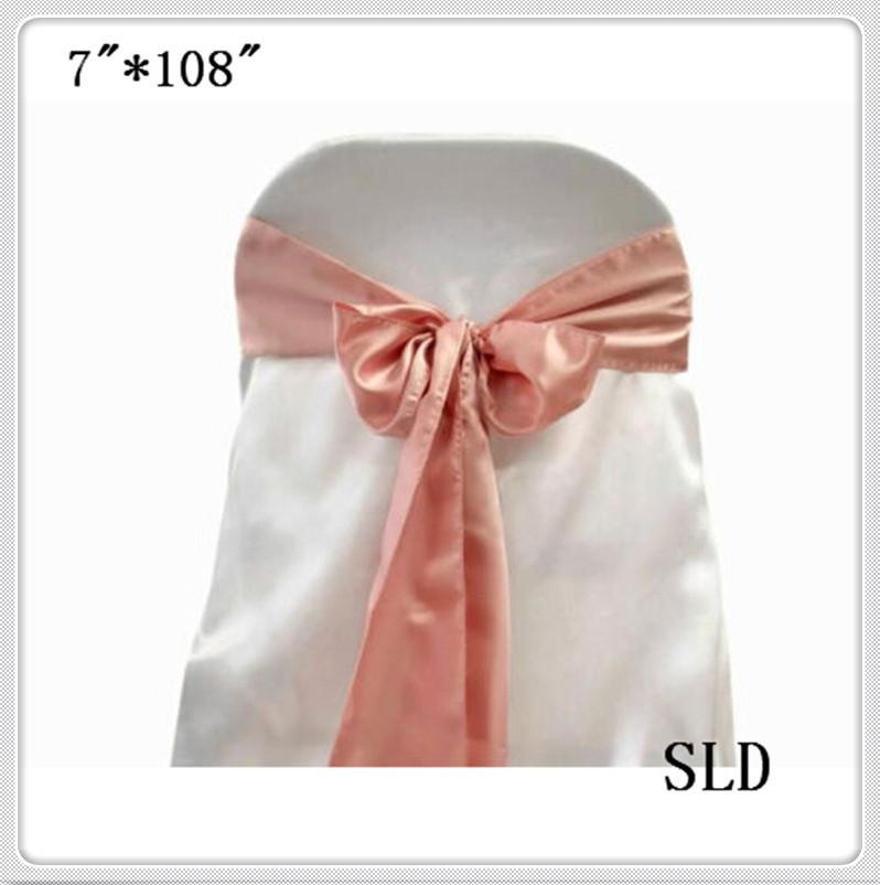 100pcs peach satin chair bows /sash for wedding/party/banquet /event supplies free shipping(China (Mainland))