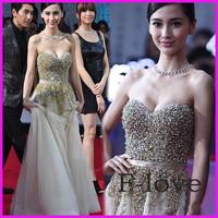 Real Photo 2015 Sexy Strapless Sweetheart A-line Gold Beading Organza Long Evening Dresses Tarik Ediz Dress 2015 MR-001