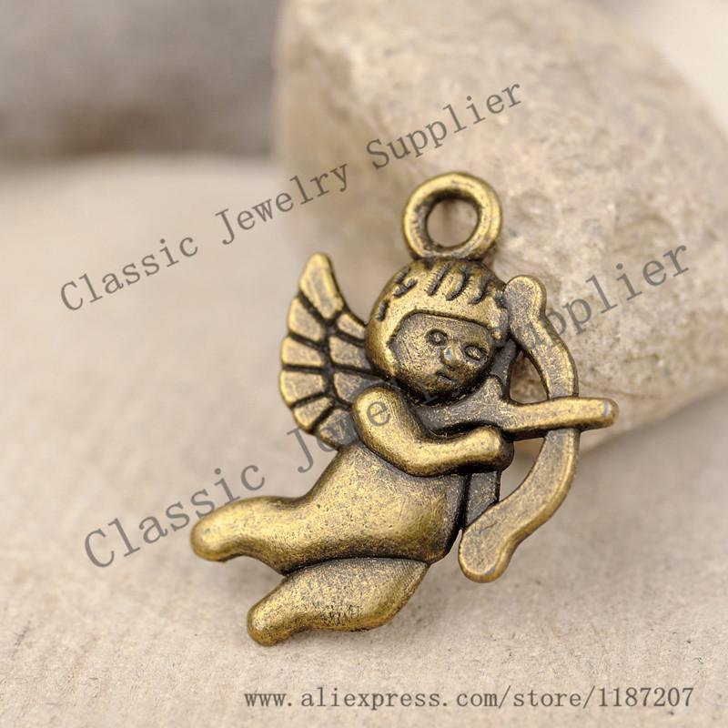 Wholesale DIY Jewelry Accessories Antiqued Bronze Tone Vintage Alloy Cupid Arrow Necklace Pendant Charms 20 16mm
