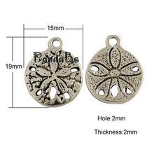 Tibetan Style Antique Silver Sand Dollar Pendants, Cadmium Free & Lead Free, 19x15x2mm, Hole: 2mm(China (Mainland))