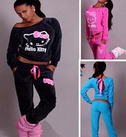 Hot!! 2015 spring warmth kitty Women Sweatshirt Printed cotton sports set Hoodies Cardigans,Sport Suit Women Hoody and pants