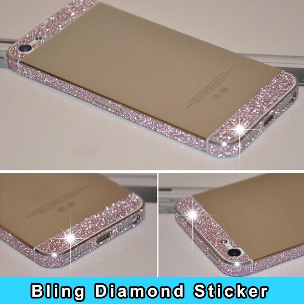 Luxury Colorful Glitter Bling Diamond Full Body Side rhinestone sweets deco phone bling diamond sticker for iphone 5 5s(China (Mainland))