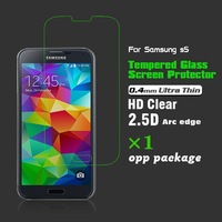 9H 0.4mm Ultra Thin Arc edge HD Clear Tempered Glass Screen Protector Guard Film for Samsung Galaxy i9600 S5