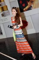 New arrival Summer 2015 slim plus size stripe full dress bohemia chiffon vest beach dress one-piece dress