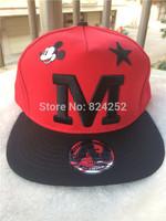 2015 The new hip-hop cap flat along the letter M hat, children hat, baseball cap Mickey couple models 4 color
