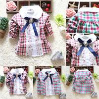 Baby Girls Plaid T-Shirt Lace Lapel Bow Long Sleeve Kids Tee Shirt Tops