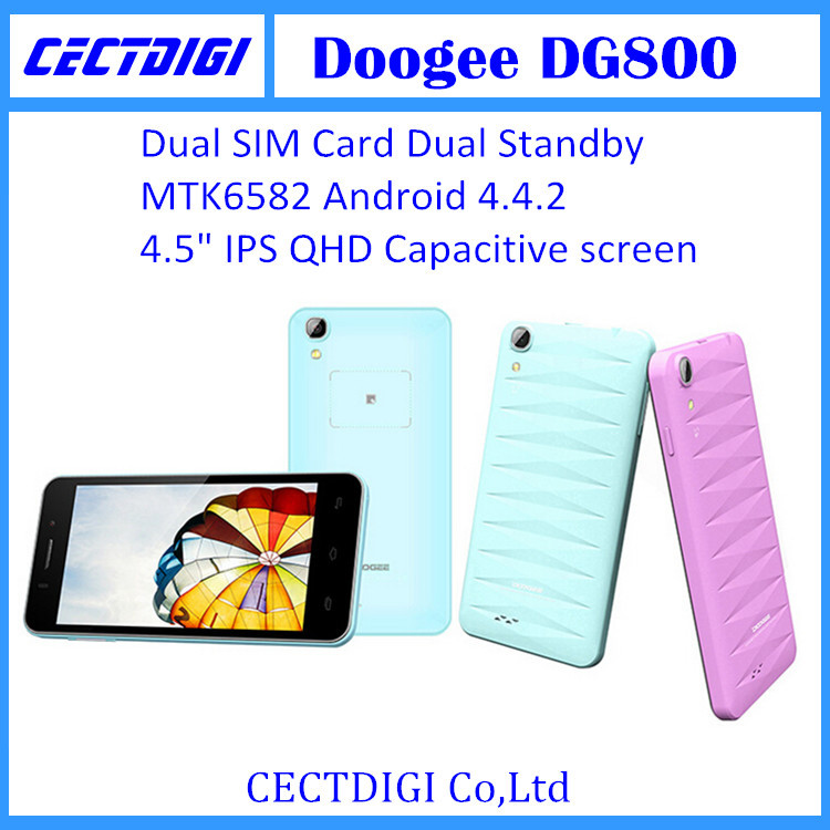 Original Doogee dg800 cell phone Android 4.4.2 MTK6582 Quad Core 8GB ROM 1GB RAM Gesture Sensor Dual Camera 3G cheap phone(China (Mainland))