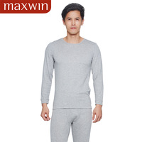 New arrival maxwin male thin 3 coffee carbon o-neck long johns long johns derlook thermal underwear set