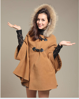 2014 winter women's wool cloak wool coat overcoat fur collar cloak woolen outerwear cape