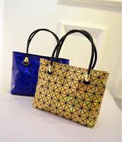 2015 New Brand Fashion Design Shiny Laser Diamond Quilted Bag Women Patent Leather Shoulder Bag OL Bag Feminina Bolsas mb753