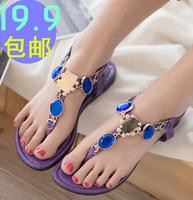 2014 summer flat thong sandals with rhinestone Bohemian Sandals women free shipping  DD1856