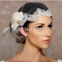 Free Shipping,Wedding dress wholesale 100% lace edge long rhinestone feather wedding veil/bridal accessories/head veil