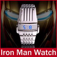 2015 Hot Sale Fashion Cool Men Women Full Steel Binary Watch Iron Man Mask LED Digital Casual  Wristwatch relogio masculino