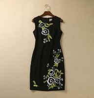 S-XXL 2015 new runway spring Brand plus size women dresses embroidery patchwork O neck sleeveless dresses 252198