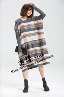 2015 Spring New women fashion splicing striped folkspirit loose big yards round-neck batwing sleeve sweater