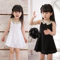 Lace Streamer Girl Dresses Summer Sequins Lapel Sleeveless Girls Vest Clothes For Party Black/White Vestido de princesa menina