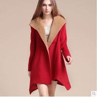 2015 new winter women's wear hooded cloak in the long section of woollen overcoat Europe wool coat