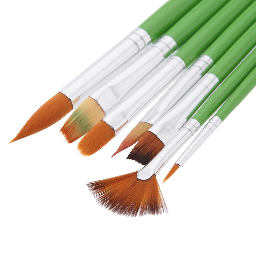7pcs Different Shape Nylon Hair Paint Brush Set Wooden Handle Gouache Watercolor Oil Painting Brush Set Acrylics Art(China (Mainland))