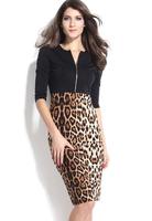 Women Casual Dress Sexy Elegant Pencil Leopard Patchwork Dress Party Bodycon Plus Size XL Vestidos B5327 Fshow