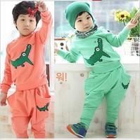 [Humor Bear] embroidery crocodile New design Baby boy's/girl's Sports Set sport clothing set baby wear Kids Suit kids wear