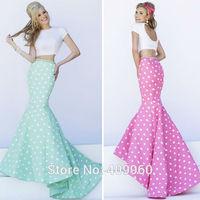 Sexy O Neck With Pearls Mermaid Crop Top Natural Waist Floor Length Spots Satin Two Piece Prom Dresses Vestido De Festa Curto
