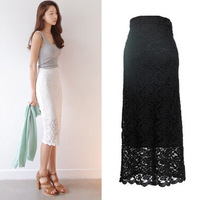 2015 Summer Pencil Lace Skirt Vintage Hollow Out Embroidery Crochet Skirts Floral High Waist Girl Women's Mid-Calf Skirt 1501164