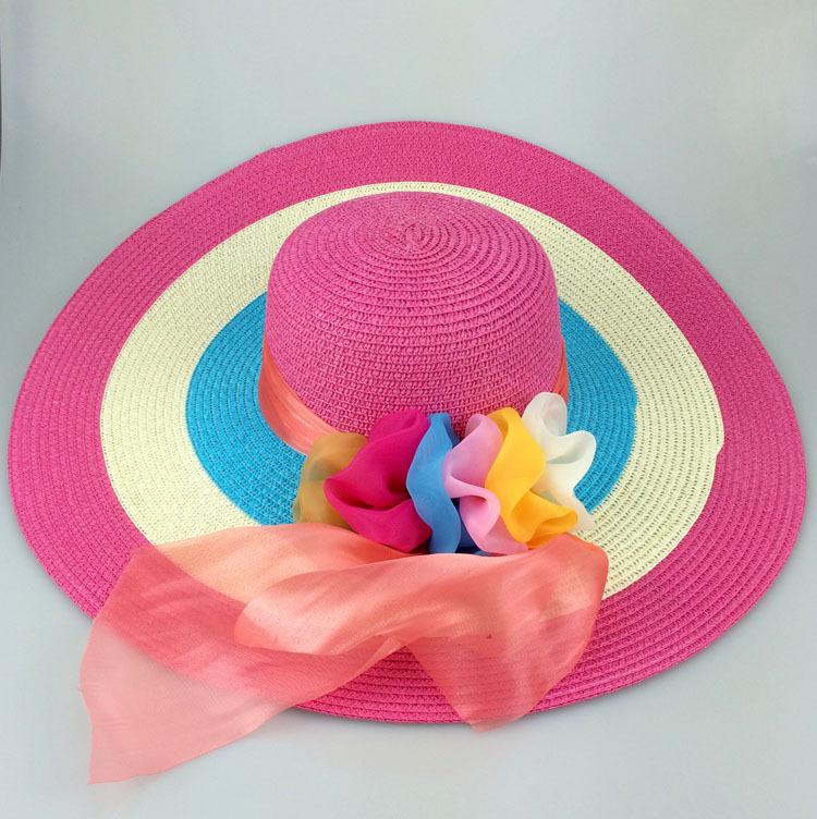 New 2015 fashion girls summer hats flowers women s beach kentucky