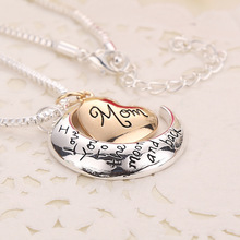 New arrived Moon Heart mom Necklace I Love You to the Moon And Back personality hang