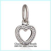2015 New Authentic 925 Sterling Silver Love Hearts Charms Pendants Pave Sparkling Zircon DIY Jewelry For Women Bracelets SH0577